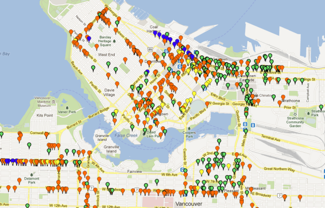 Bike Rack Map Vancouver